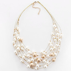 preiswerte Mehrreihen Halskette-Damen Halsketten Mehrlagig Schwimmend damas Europäisch Modisch Mehrlagig Perlen Künstliche Perle Aleación Weiß Golden Modische Halsketten Schmuck Für Party Alltag Normal