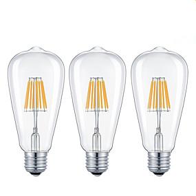 Χαμηλού Κόστους Λαμπτήρες LED με νήμα πυράκτωσης-KWB 3pcs 7 W 720 lm E26 / E27 LED Λάμπες Πυράκτωσης ST64 8 LED χάντρες COB Με ροοστάτη Θερμό Λευκό / Ψυχρό Λευκό 220-240 V / 110-130 V / 3 τμχ / RoHs / CE