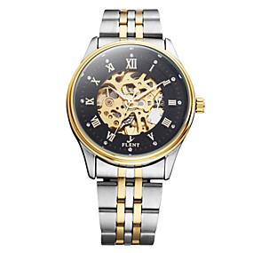voordelige Merk Horloge-ASJ Heren mechanische horloges Japans Automatisch opwindmechanisme Roestvrij staal Zilver 30 m Hol Gegraveerd Cool Analoog Vintage Informeel Modieus - Zwart