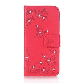 voordelige Galaxy Core Prime Hoesjes / covers-hoesje Voor Samsung Galaxy J5 (2016) / J3 (2016) / Grand Prime Portemonnee / Kaarthouder / Strass Volledig hoesje Vlinder Hard PU-nahka