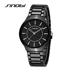 voordelige Merk Horloge-SINOBI Heren Modieus horloge Dress horloge Kwarts Zwart 30 m Waterbestendig Stootvast Analoog Amulet - Zilver Goud Bruin Twee jaar Levensduur Batterij
