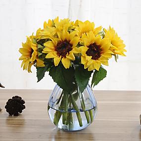 povoljno Velika promocija kućanstva-6 grana suncokreta umjetni cvjetovi dom ukras wedding supply