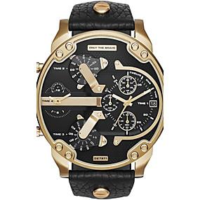 levne Společenské hodinky-Pro páry Sportovní hodinky Vojenské hodinky Náramkové hodinky Křemenný Nerez Černá / Stříbro / Orange Kalendář kreativita Hodinky s dvojitým časem Analogové Luxus Vintage Na běžné nošení Skládan / #