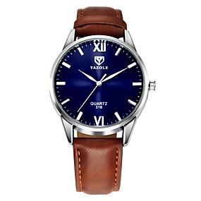 Недорогие Фирменные часы-YAZOLE Муж. Наручные часы Кожа Черный / Коричневый Повседневные часы Аналоговый Классика На каждый день Простые часы - Черный Коричневый Один год Срок службы батареи