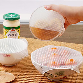 cheap Kitchen Utensils & Gadgets-4Pcs Multifunctional Food Fresh Keeping Saran Wrap Kitchen Tools Reusable Silicone Food Wraps Seal Vacuum Cover Lid Stretch