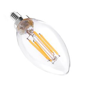 ieftine Becuri LED Lumânare-YWXLIGHT® 1 buc 4 W Becuri LED Lumânare 300-400 lm E12 C35 4 LED-uri de margele COB Intensitate Luminoasă Reglabilă Decorativ Alb Cald 110-130 V / 1 bc