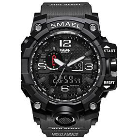 voordelige Merk Horloge-SMAEL Heren Sporthorloge Militair horloge Smart horloge Kwarts Digitaal Silicone Meerkleurig 50 m Waterbestendig Alarm Kalender Analoog-Digitaal Amulet Klassiek Informeel camouflage Bangle - Grijs