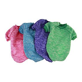 billige Kæledyr, Legetøj og hobbyartikler-Hund Sweatshirt Jumpsuits Hundetøj Ensfarvet Grøn Blå Lys pink Bomuld Kostume Til Forår & Vinter Vinter Afslappet / Hverdag