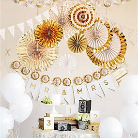 baratos Casa & Cozinha-8 pçs / set ouro / prata fã de papel artesanal rosetas flor fã dobrável casamento em casa cenário decoração fontes da festa de aniversário