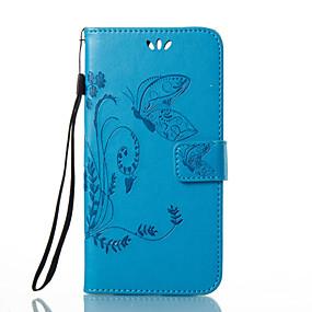 voordelige Huawei Honor hoesjes / covers-hoesje Voor Huawei Honor 4X / Huawei P9 / Huawei P9 Lite P10 Plus / P10 Lite / P10 Portemonnee / Kaarthouder / met standaard Volledig hoesje Vlinder / Bloem Hard PU-nahka / Huawei P9 Plus