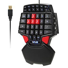 cheap Mice & Keyboards-Delux T9 47-Key Professional Single Hand Wired Esport Gaming Keyboard 3-levelBacklit