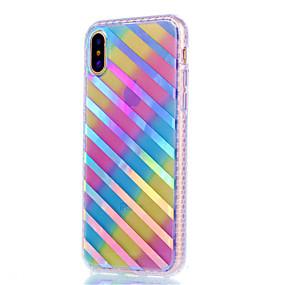 olcso iPhone tokok-Case Kompatibilitás Apple iPhone X / iPhone 8 / iPhone 8 Plus Galvanizálás / Foszforeszkáló Fekete tok Vonalak / hullámok Puha TPU mert iPhone X / iPhone 8 Plus / iPhone 8