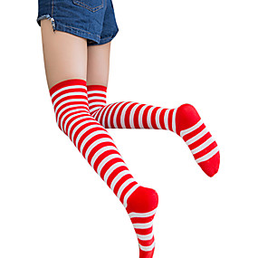 cheap Daily Deals-Men's Sexy Lolita Socks / Long Stockings Black / White Black / Red Red / White Striped Cotton Lolita Accessories / Gothic Lolita Dress / Classic Lolita Dress / High Elasticity