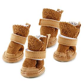 voordelige Honden Sieraden & Accessoires-Hond Schoenen & Laarzen Snowboots Houd Warm Modieus Effen Voor huisdieren Katoen Bruin / Winter