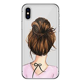 olcso iPhone tokok-Case Kompatibilitás Apple iPhone X / iPhone 8 / iPhone 6 Plus Ultra-vékeny / Minta Fekete tok Szexi lány Puha TPU mert iPhone X / iPhone 8 Plus / iPhone 8
