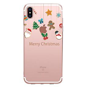 Недорогие Модные популярные товары-Кейс для Назначение Apple iPhone X / iPhone 8 Прозрачный / С узором Кейс на заднюю панель Рождество Мягкий ТПУ для iPhone XS / iPhone XR / iPhone XS Max