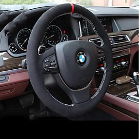 billige Rattet dækker-Ratovertræk til din bil ægte læder Sort Til BMW X3 / X5 / 3-serien Alle år