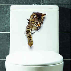 cheap Decoration Stickers-Animals Wall Stickers 3D Wall Stickers Toilet Stickers, Vinyl Home Decoration Wall Decal Toilet