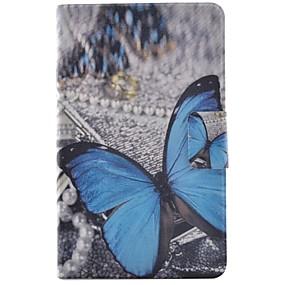 voordelige Galaxy Tab E 9.6 Hoesjes / covers-hoesje Voor Samsung Galaxy Tab E 9.6 Kaarthouder / met standaard / Flip Volledig hoesje Vlinder Hard PU-nahka