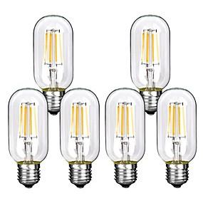 Χαμηλού Κόστους Λαμπτήρες LED με νήμα πυράκτωσης-6pcs 4 W LED Λάμπες Πυράκτωσης 360 lm E26 / E27 T45 4 LED χάντρες COB Διακοσμητικό Θερμό Λευκό Ψυχρό Λευκό 220-240 V / RoHs