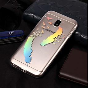 voordelige Galaxy J3 Hoesjes / covers-hoesje Voor Samsung Galaxy J7 (2017) / J7 (2016) / J7 IMD / Patroon Achterkant Veren Zacht TPU