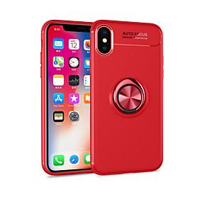 olcso iPhone tokok-Case Kompatibilitás Apple iPhone X / iPhone 8 Plus Állvánnyal / Tartó gyűrű / Mágneses Fekete tok Egyszínű Puha TPU mert iPhone X / iPhone 8 Plus / iPhone 8