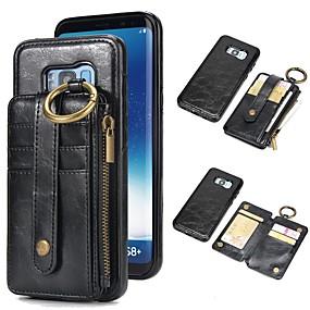 voordelige Galaxy S7 Edge Hoesjes / covers-hoesje Voor Samsung Galaxy S9 / S9 Plus / S8 Plus Portemonnee / Kaarthouder / met standaard Volledig hoesje Effen Hard aitoa nahkaa