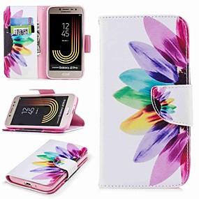 voordelige Galaxy J1 Hoesjes / covers-hoesje Voor Samsung Galaxy J7 (2017) / J7 (2016) / J7 Portemonnee / Kaarthouder / met standaard Volledig hoesje Bloem Hard PU-nahka
