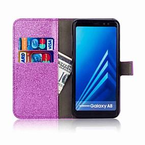 voordelige Galaxy A3(2016) Hoesjes / covers-hoesje Voor Samsung Galaxy A5(2018) / A3 (2017) / A5 (2017) Portemonnee / Kaarthouder / Strass Volledig hoesje Glitterglans Hard PU-nahka