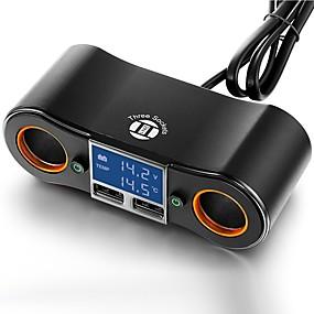 billige Bil Ladere-bil opladning adapter to stikkontakt og dual usb porte digital led voltmeter / termometer til 5 v