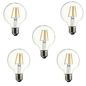 Χαμηλού Κόστους Λαμπτήρες LED με νήμα πυράκτωσης-5pcs 4 W LED Λάμπες Πυράκτωσης 360 lm E26 / E27 G80 4 LED χάντρες COB Διακοσμητικό Θερμό Λευκό 220-240 V / RoHs