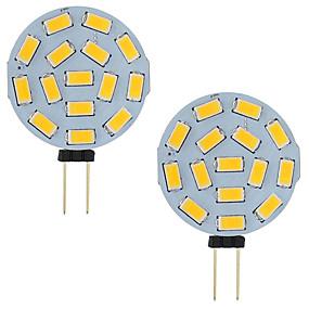 povoljno LED svjetla s dvije iglice-3w vodio g4 auto brodski kamper rv 15 leds 5730 smd okrugli raspon 120 stupnjeva ac / dc 12v - 24v hladno / toplo bijelo (2 kom)