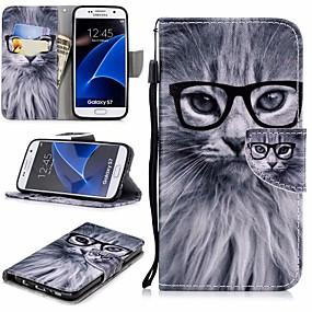 Χαμηλού Κόστους Θήκες / Καλύμματα Galaxy S Series-tok Για Samsung Galaxy S7 Πορτοφόλι / Θήκη καρτών / με βάση στήριξης Πλήρης Θήκη Γάτα Σκληρή PU δέρμα για S7