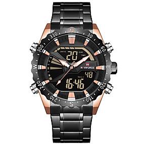 voordelige Merk Horloge-NAVIFORCE Heren Sporthorloge Militair horloge Digitaal horloge Japans Japanse quartz Roestvrij staal Zwart / Zilver 30 m Alarm Chronograaf Dubbele tijdzones Analoog-Digitaal Luxe Modieus - Silver