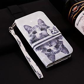 voordelige Galaxy J3 Hoesjes / covers-hoesje Voor Samsung Galaxy J8 (2018) / J7 (2017) / J7 (2018) Portemonnee / Kaarthouder / met standaard Volledig hoesje Kat Hard PU-nahka