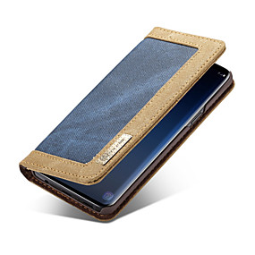 voordelige Galaxy S7 Hoesjes / covers-CaseMe hoesje Voor Samsung Galaxy S9 Plus / S9 Portemonnee / Kaarthouder / Flip Volledig hoesje Effen Hard tekstiili voor S9 / S9 Plus / S8 Plus