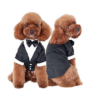 cheap Pet Supplies-Cat Dog Tuxedo Dog Clothes Bowknot Black Cotton Costume For Husky Labrador Alaskan Malamute Spring &  Fall Winter Men's Cosplay Wedding