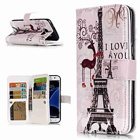 halpa Galaxy S -sarjan kotelot / kuoret-Etui Käyttötarkoitus Samsung Galaxy S9 Plus / S8 Lomapkko / Korttikotelo / Tuella Suojakuori Eiffel-torni Kova PU-nahka varten S9 / S9 Plus / S8 Plus