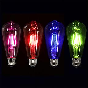 baratos Lâmpadas de LED Filamento-4pçs 4 W Lâmpadas de Filamento de LED 360 lm E26 / E27 ST64 4 Contas LED COB Festa Decorativa Férias Vermelho Azul Verde 220-240 V / RoHs