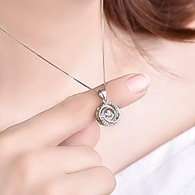 billige Smykker & Ure-Dame Kvadratisk Zirconium 3D Vedhæng Damer Stilfuld Klassisk Sølv Halskæder Smykker 1pc Til Forlovelse Daglig