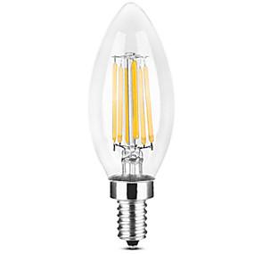 Χαμηλού Κόστους Λαμπτήρες LED με νήμα πυράκτωσης-YWXLIGHT® 1pc 6 W LED Λάμπες Κεριά LED Λάμπες Πυράκτωσης 500-600 lm E14 C35 6 LED χάντρες COB Θερμό Λευκό Άσπρο 220-240 V