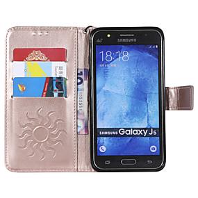 voordelige Galaxy J5 Hoesjes / covers-hoesje Voor Samsung Galaxy J5 (2016) / J2 PRO 2018 Portemonnee / Kaarthouder / met standaard Volledig hoesje Effen Hard PU-nahka voor J7 (2016) / J5 (2016) / J5