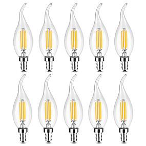 ieftine Lămpi Cu Filament LED-YWXLIGHT® 10pcs 4 W Becuri LED Lumânare Bec Filet LED 300-400 lm E14 C35 4 LED-uri de margele COB Intensitate Luminoasă Reglabilă Alb Cald Alb 220-240 V