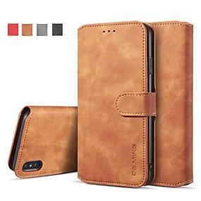 levne iPhone pouzdra-pouzdro pro iphone xr xs xs max peněženka / držák na karty / s pouzdry na stojany pevné barevné kožené pouzdro pro iPhone x 8 8 plus 7 7plus 6s 6s plus se 5 5s