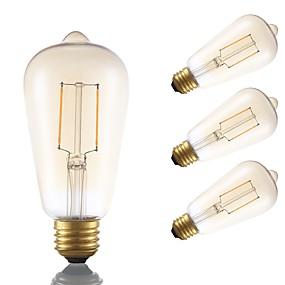 Χαμηλού Κόστους Λαμπτήρες LED με νήμα πυράκτωσης-GMY® 4pcs 2 W LED Λάμπες Πυράκτωσης 180 lm E26 / E27 ST19 2 LED χάντρες COB Διακοσμητικό Κεχριμπάρι 120 V / FCC