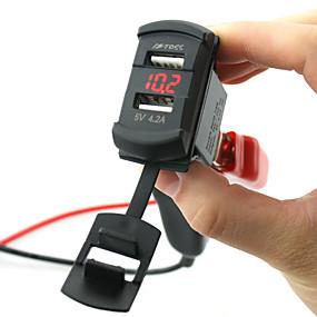 voordelige Autoladers-5 v 4.2a autolader dual usb-poorten led digitale display voltmeter met draden en geïsoleerde krimpkous connectoren voor vrachtwagen auto motorfiets suv