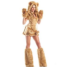 billige Daglige tilbud-Kat Ulv Kvinder Kostume Santa Clothe Voksne Dame Halloween Jul Jul Halloween Karneval Festival / Højtider Terylene Polyester Sort / Gul / Brun Karneval Kostume Ensfarvet