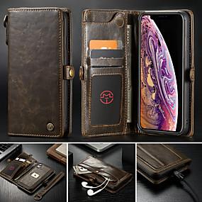 billige CaseMe®-caseme taske til iphone xr xs xs max tegnebog / kortholder / med stativ solid farvet hårdt pu læder til iphone x 8 8 plus 7 7plus 6s 6s plus se 5 5s