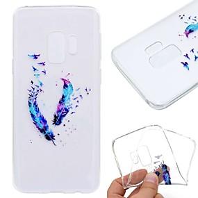 voordelige Galaxy S7 Edge Hoesjes / covers-hoesje Voor Samsung Galaxy S9 / S9 Plus / S8 Plus Transparant / Patroon Achterkant Veren Zacht TPU