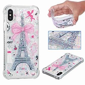 abordables Coques d'iPhone-Coque Pour Apple iPhone XR / iPhone XS Max Antichoc / Liquide / Transparente Coque Tour Eiffel / Brillant Flexible TPU pour iPhone XS / iPhone XR / iPhone XS Max
